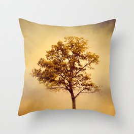 Amber Gold Cotton Field Tree Throw Pillow
