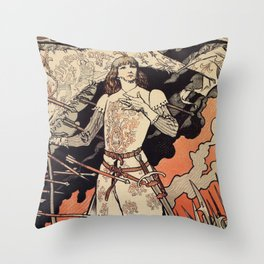 Sarah Bernhardt as Joan of Arc vintage theatre ad Throw Pillow