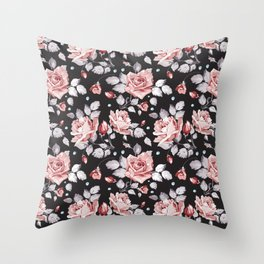 Vintage Pink Rose Flowers Throw Pillow
