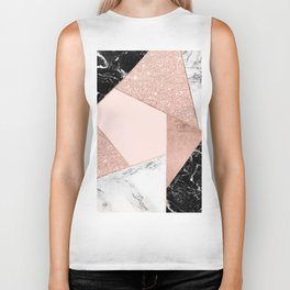 Modern rose gold glitter black white marble geometric color block Biker Tank