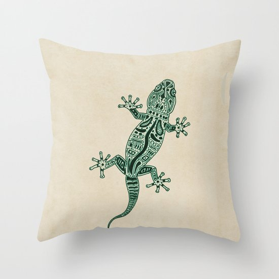 Ornate Lizard Throw Pillow