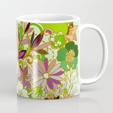 Detailed summer floral pattern, green Mug