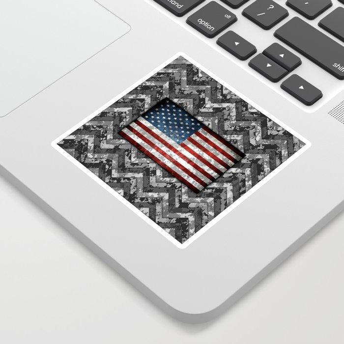 Wolf Gray Patriotic Chevrons Digital Camo Sticker