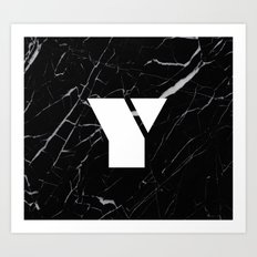 Black Marble - Alphabet Y Art Print