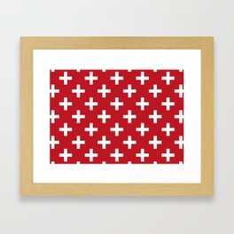 Criss Cross | Plus Sign | Red and White Framed Art Print