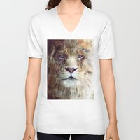 face V-neck T-shirts featuring Lion // Majesty by Amy Hamilton