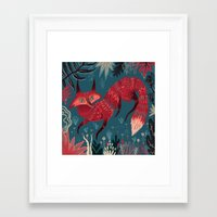 sweater Framed Art Prints featuring F O X ! by Karl James Mountford