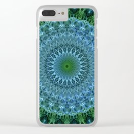 Blue and green mandala Clear iPhone Case