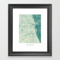 Chicago Map Blue Vintage Framed Art Print