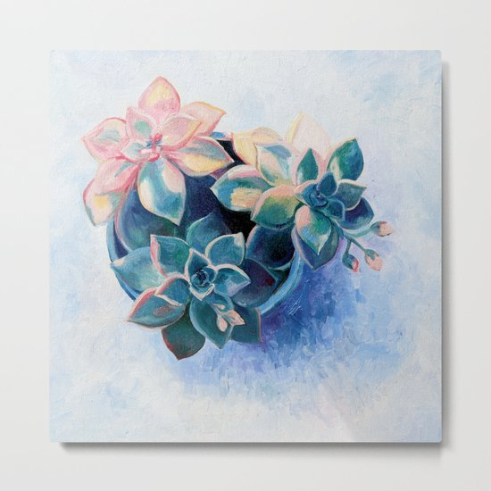 Pastel Succulents - an oil painting on canvas Metal Print