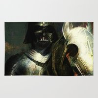 knight Area & Throw Rugs featuring Knight Vader  by Joe Ganech