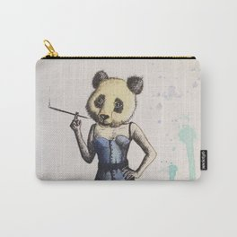 Lady Panda in a Corset and Pencil Skirt Carry-All Pouch