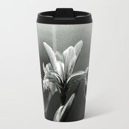 Beautiful Blue Flag Iris in black and white Travel Mug
