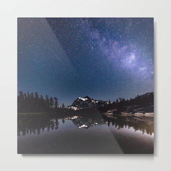 Summer Stars - Galaxy Mountain Reflection Metal Print