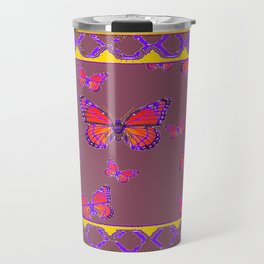 Amethyst Color Art Monarch Butterflies Yellow-Purple Travel Mug