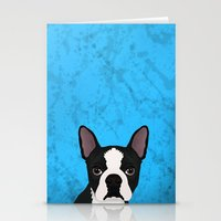 terrier Stationery Cards featuring Boston terrier by Nir P