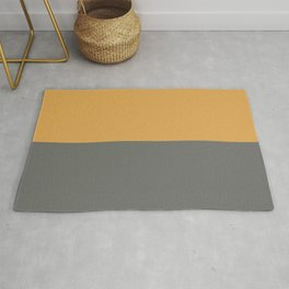 Dark Golden Yellow & Dark Pewter Gray Solid Color Horizontal Stripe Minimal Graphic Design Jolie Legacy & Marigold Rug