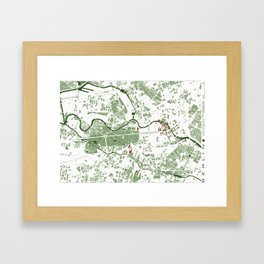 Berlin city map minimal Framed Art Print