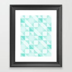 All Turquoise Triangle Pattern Framed Art Print