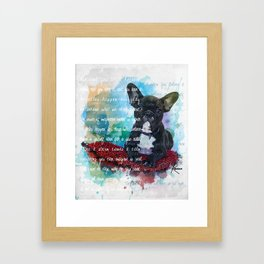 Watercolor Black Bulldog Sitting On a Red Pillow Framed Art Print