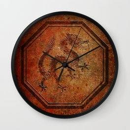 Distressed Chinese Dragon In Octagon Frame Wall Clock