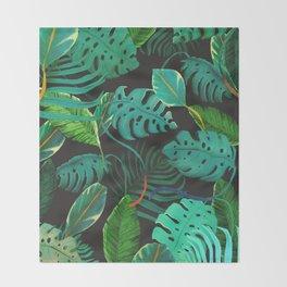 nigth tropical leaves Throw Blanket