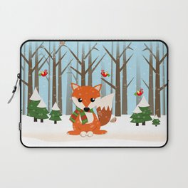 Cute winter fox with a red / green scarf, Laptop Sleeve