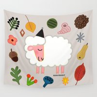 sheep Wall Tapestries featuring sheep by goolygooly