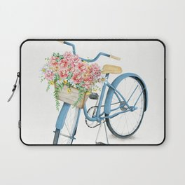 Blue Bicycle with Flowers in Basket Laptop Sleeve