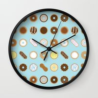 donuts Wall Clocks featuring Donuts by Dorothy Leigh