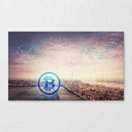 bitcoin icon hologram Canvas Print