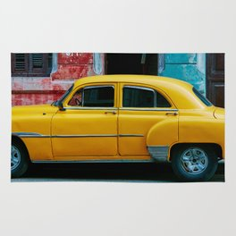 Old Yellow Taxi On Colorful Backdrop Rug
