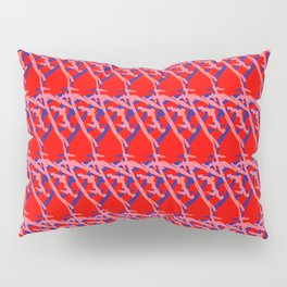 Braided diagonal pattern of wire and light arrows on a red background. Pillow Sham