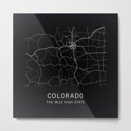 Colorado State Road Map Metal Print