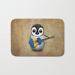 Baby Penguin Playing Barbados Flag Acoustic Guitar Bath Mat