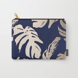 Simply Palm Leaves in White Gold Sands on Nautical Navy Carry-All Pouch