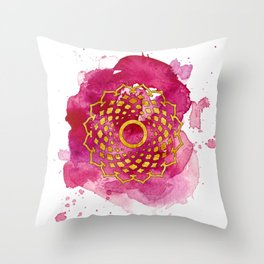 Crown Chakra Watercolour Painting Throw Pillow
