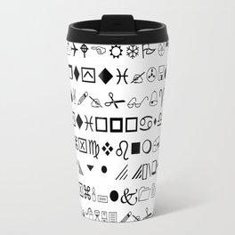 Wingdingalings - Black and White Symbol Typography Art Travel Mug