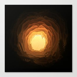 Cave, Papercut lightbox Canvas Print