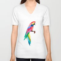 parrot V-neck T-shirts featuring parrot by mark ashkenazi