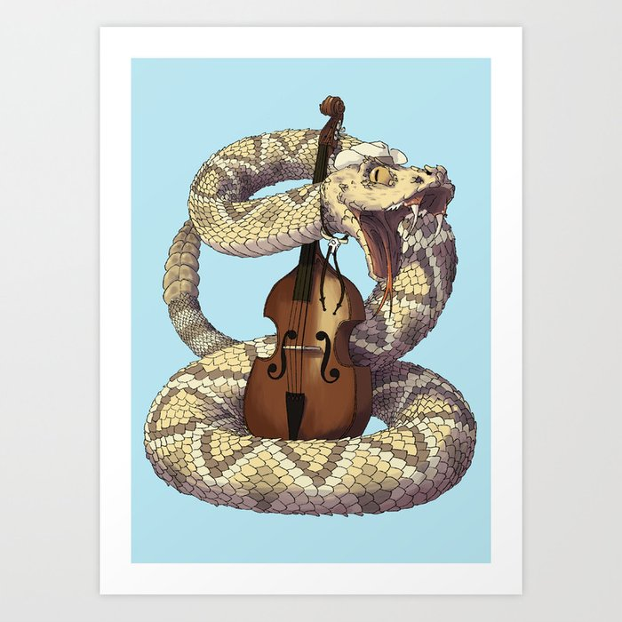 D is for Diamondback Rattlesnake, Western Art Print