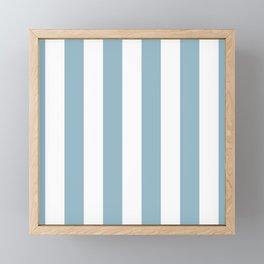 Large Baby Blue and White Vertical Cabana Tent Stripes Framed Mini Art Print