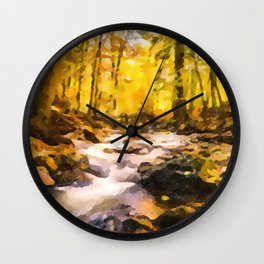 Wild waterfalls flowing through a forest Wall Clock