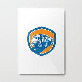 Tourist Coach Shuttle Bus Shield Woodcut Metal Print