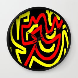 Black yellow red Wall Clock
