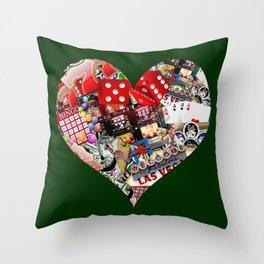 Heart Playing Card Shape - Las Vegas Icons Throw Pillow