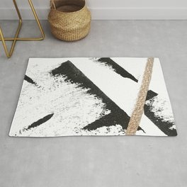 Sassy: a minimal abstract mixed-media piece in black, white, and gold by Alyssa Hamilton Art Rug