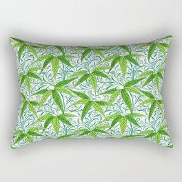 William Morris Bamboo Print, Green and White Rectangular Pillow