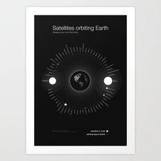 Satellites orbiting Earth Art Print
