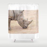 rhino Shower Curtains featuring rhino by Marcel Derweduwen